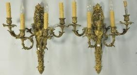 PAIR OF 19th C. FRENCH BAROQUE GILT BRONZE SCONCES