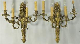 PAIR OF 19th C FRENCH BAROQUE GILT BRONZE SCONCES