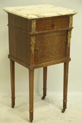 CIRCA 1880's MARBLE TOP INLAID NIGHT STAND