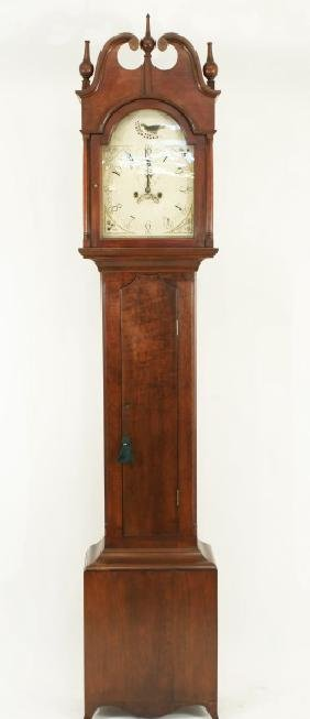 ANTIQUE AMERICAN CHERRY GRANDFATHER CLOCK