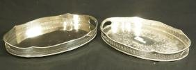 PAIR OF OVAL SILVERPLATED GALLERY SERVING TRAYS