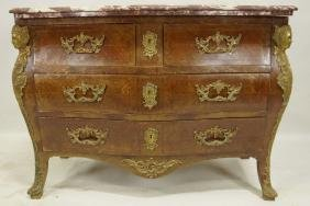 19th CENTURY FRENCH MARBLE TOP BOMBE CHEST