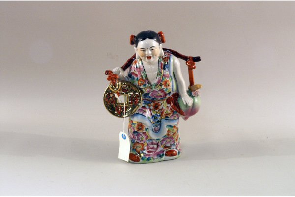 "303: Colorful Chinese figurine, 9""x12"", no markin"