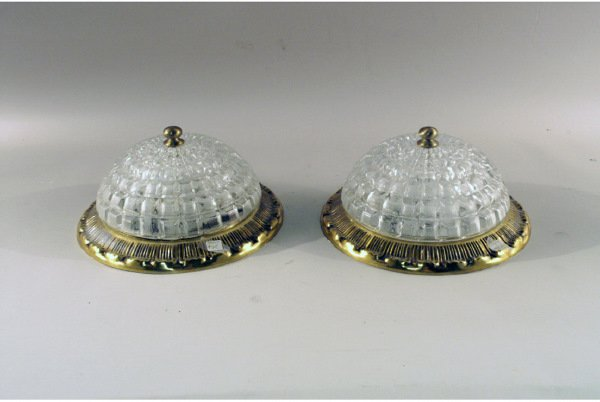 305: Pair of glass and brass ceiling light fixtures
