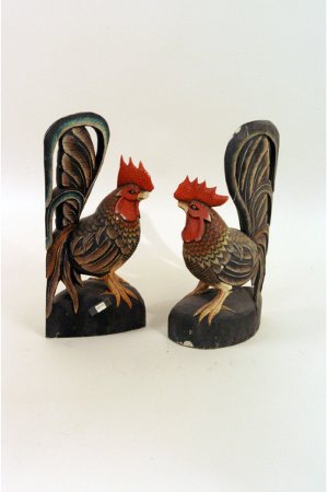 "308: Pair of Rooster wood figurines   10"" x 20"" h"