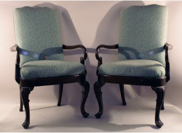 309: Pair of green upholstery armchairs   26 w x 44 h x