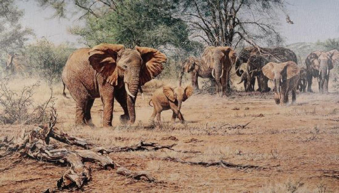 GICLEE PAINTING OF AN ELEPHANT HERD