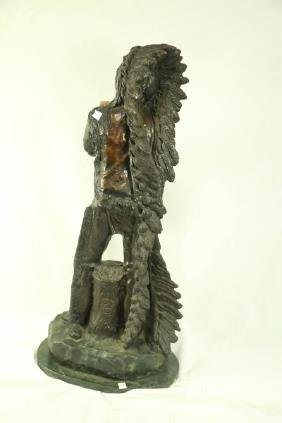 NATIVE AMERICAN CHIEF WITH FULL EAGLE BRONZE SCULPTURE