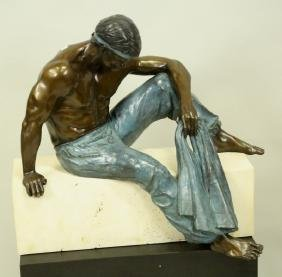 MALE BRONZE SCULPTURE ON MARBLE BASE