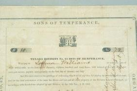 """DOCUMENT """"SONS OF TEMPERANCE"""" TEXAS DIVISION 1853"""