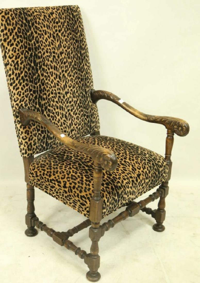 ANTIQUE FRAME LEOPARD PRINT FABRIC ARMCHAIR