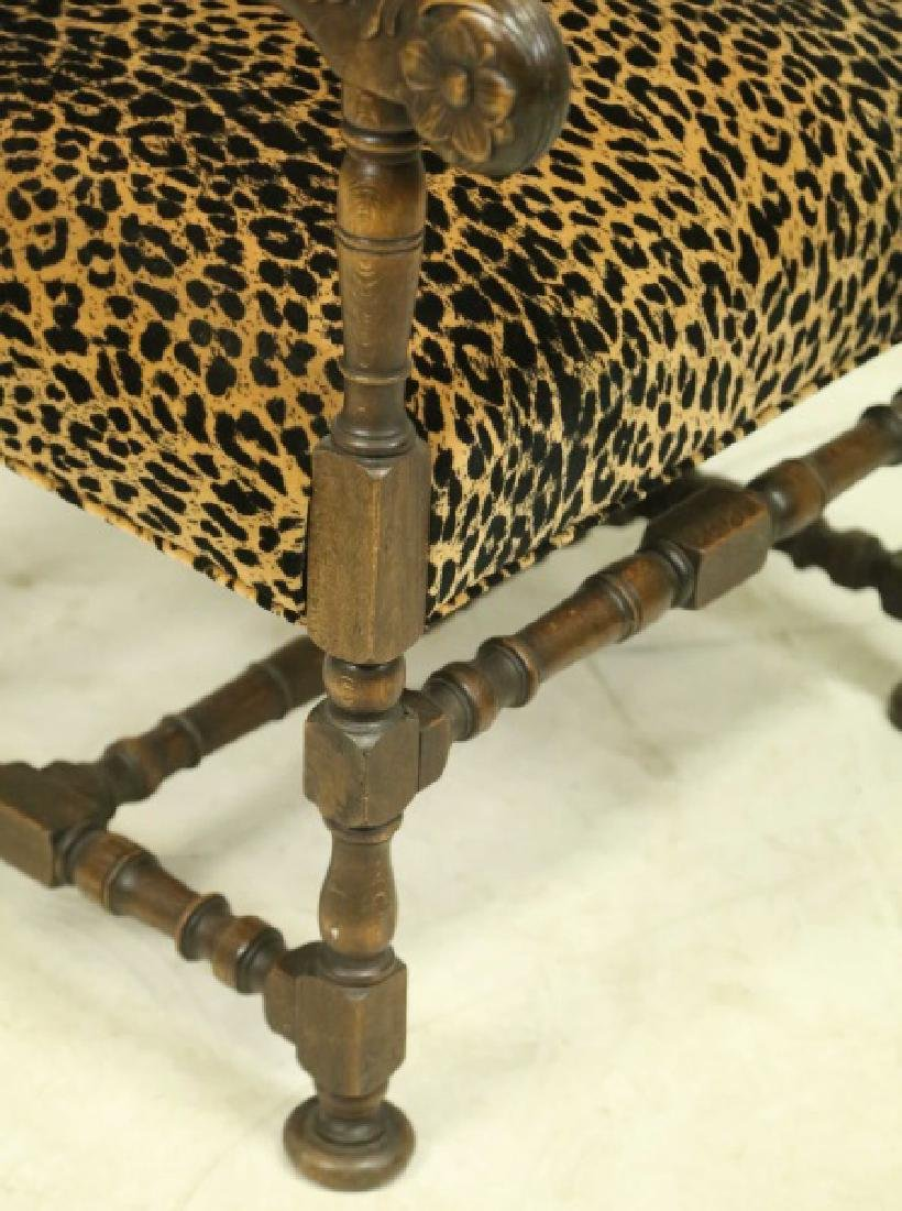 ANTIQUE FRAME LEOPARD PRINT FABRIC ARMCHAIR - 2