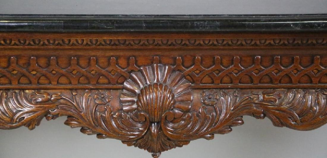 CARVED CHIPPENDALE STYLE TILED MARBLE TOP CONSOLE TABLE - 2