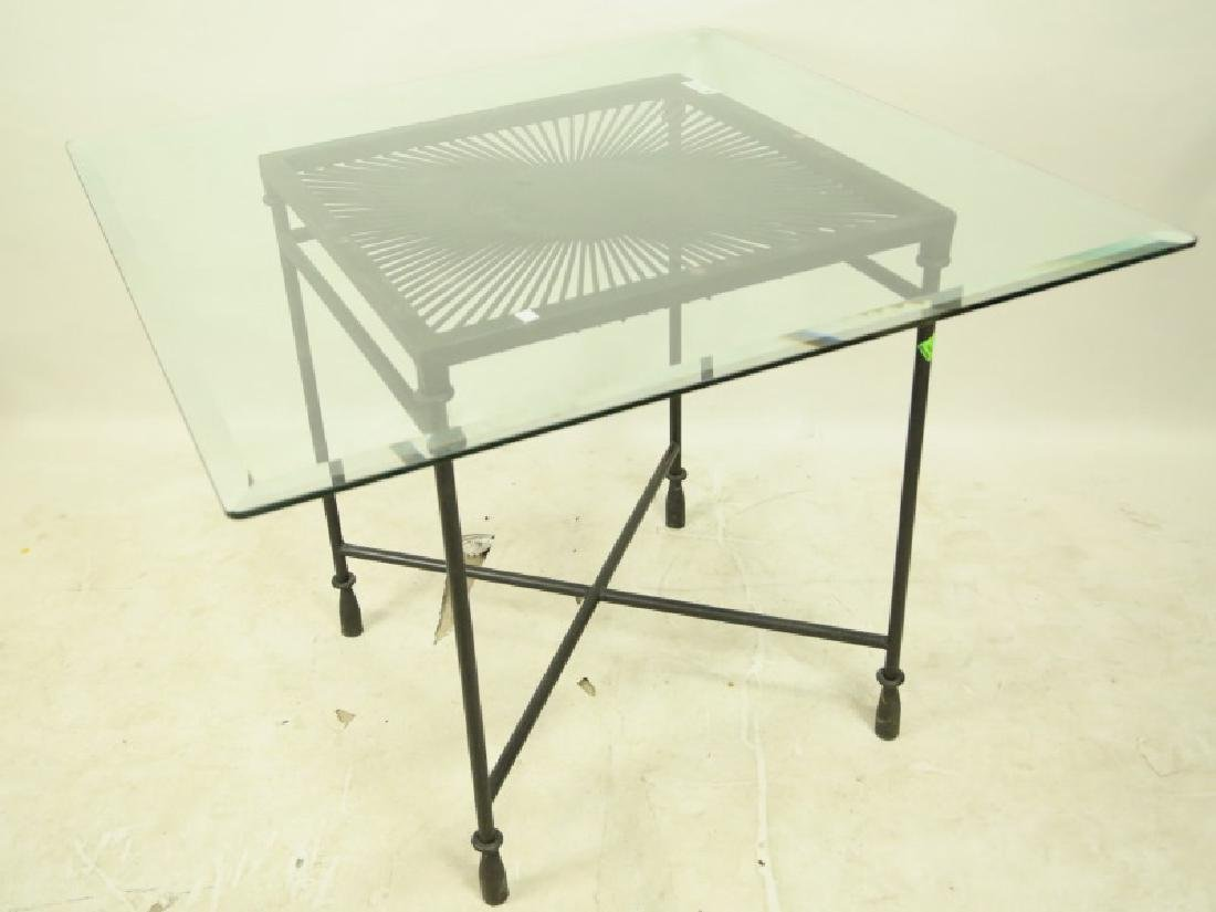SQUARE GLASS TOP TABLE WITH IRON BASE