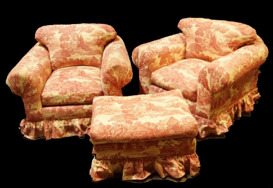 PAIR OF VINTAGE TOILE COVERED CLUB CHAIRS WITH OTT