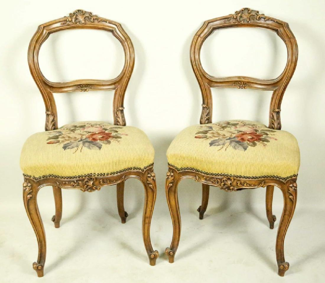 PAIR OF 19th CENTURY CARVED FRENCH SIDE CHAIRS