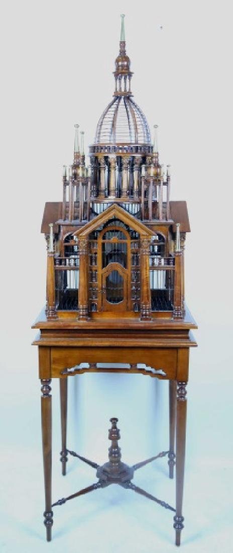 CARVED & TURNED BIRDCAGE ON ELABORATE BASE