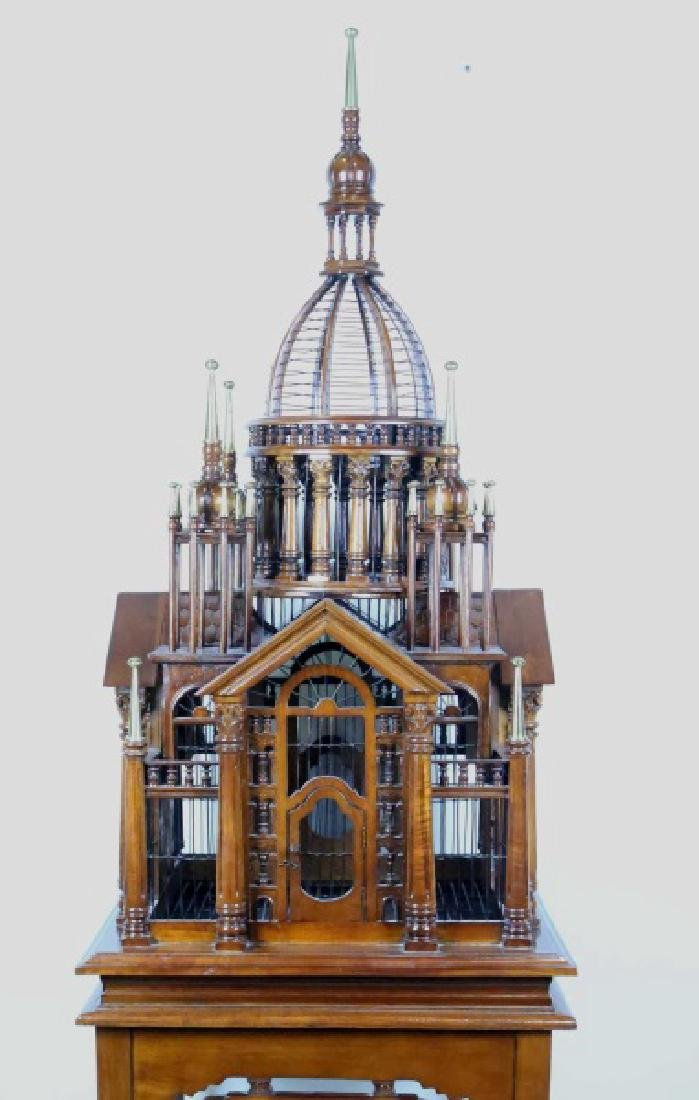 CARVED & TURNED BIRDCAGE ON ELABORATE BASE - 2