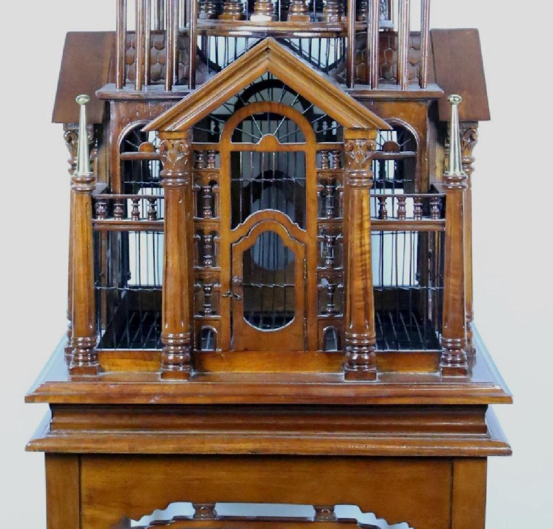 CARVED & TURNED BIRDCAGE ON ELABORATE BASE - 3