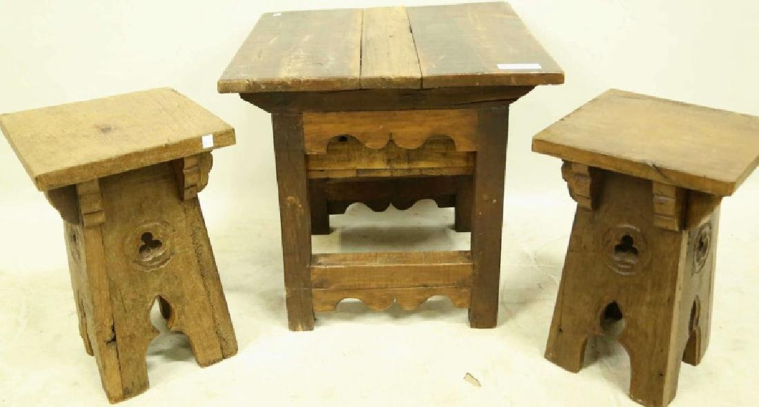ANTIQUE SPANISH WORK TABLE & STOOLS