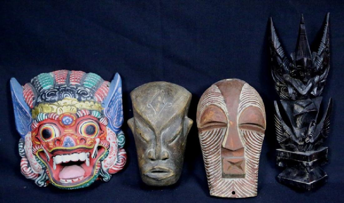 MIXED LOT OF FOUR WOOD CARVED MASKS