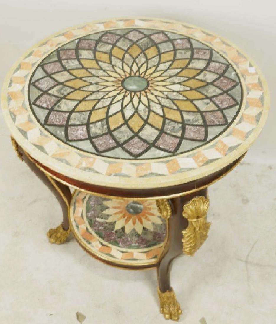 INLAID MARBLE TOP CARVED & GILDED TABLE