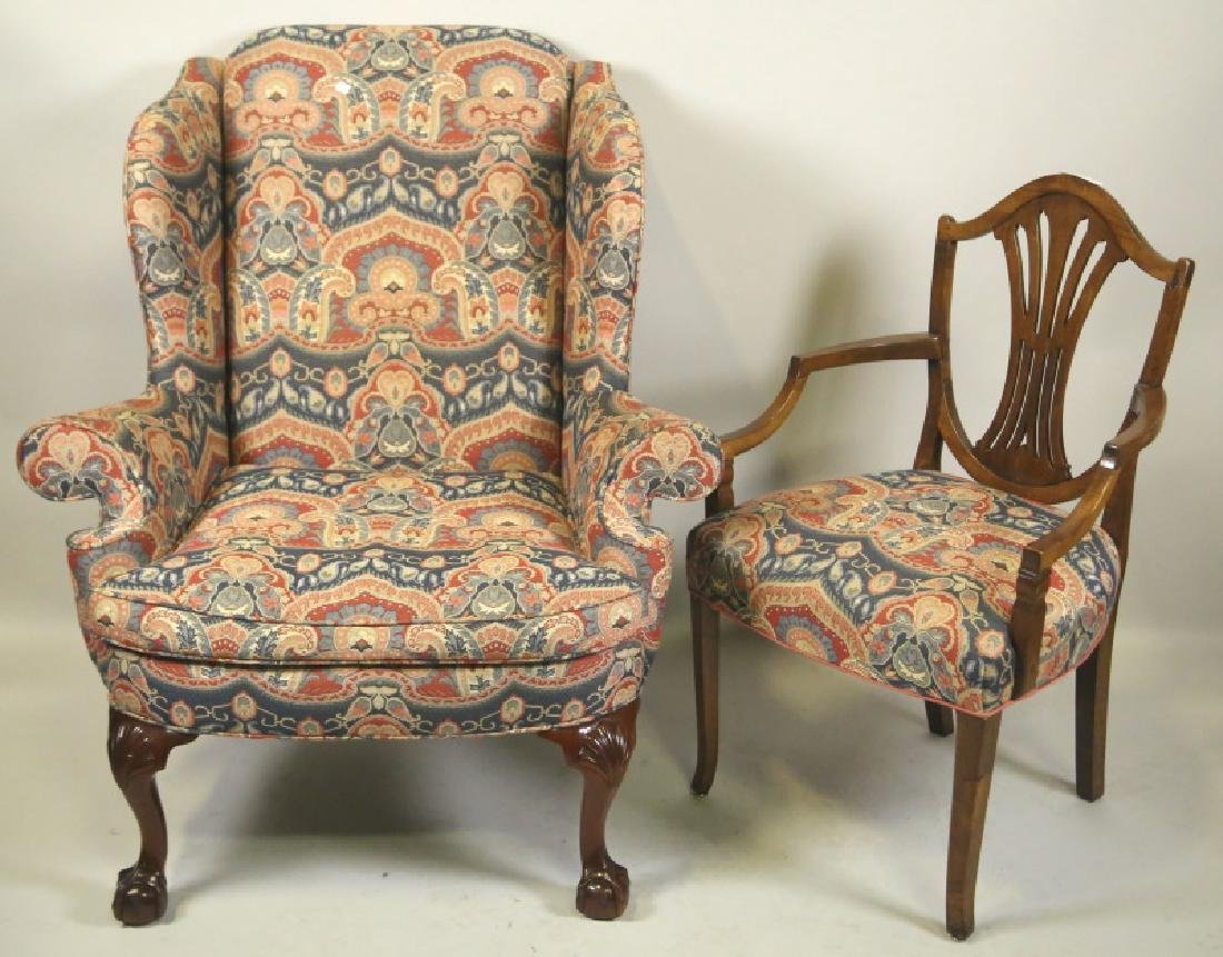 ENGLISH WING CHAIR & COMPANION ARMCHAIR