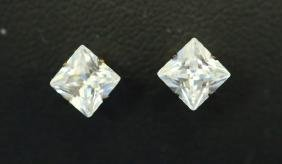 Pair 14kt Yellow Gold Diamond Solitaire Earrings