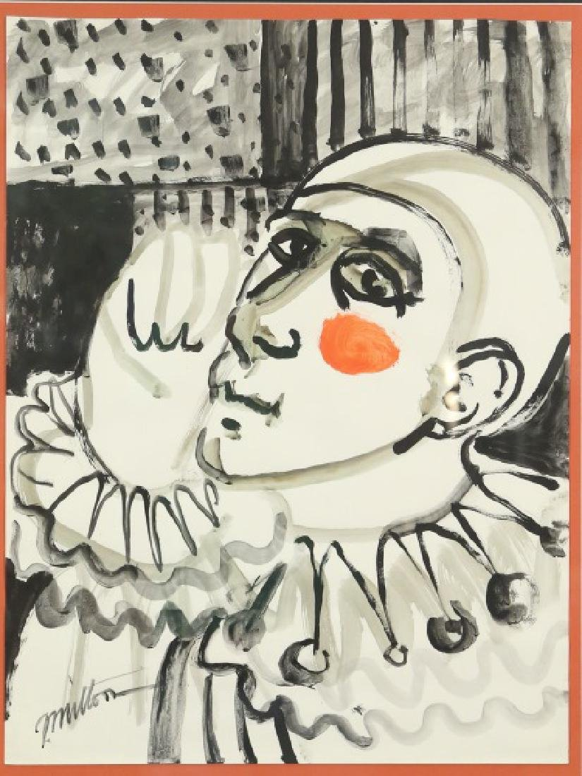 "GEORGE MILTON ""CLOWN PORTRAIT"" ORIGINAL INK & W/C"