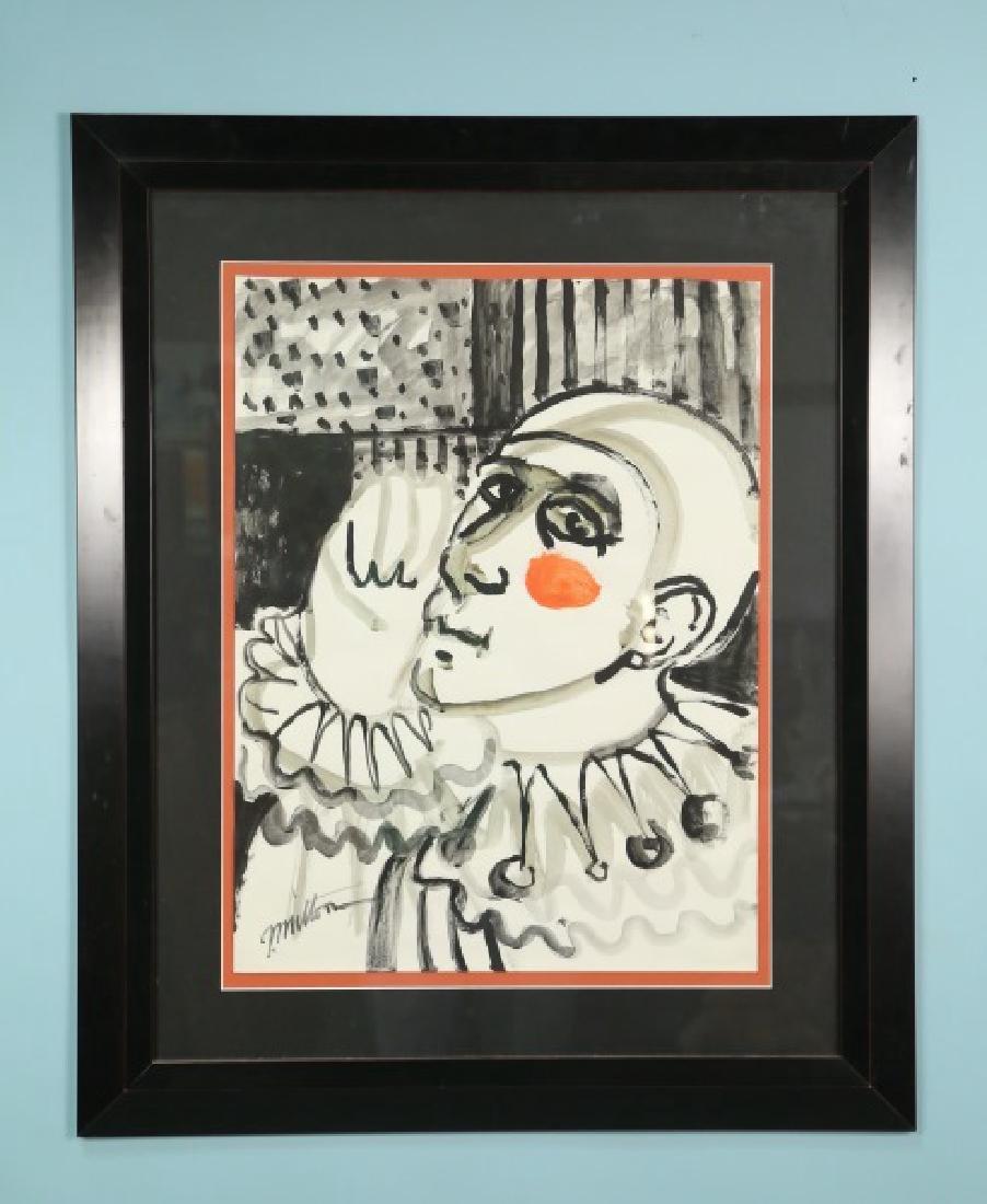 "GEORGE MILTON ""CLOWN PORTRAIT"" ORIGINAL INK & W/C - 2"