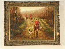 FOX HUNTING SCENE OIL ON CANVAS PAINTING