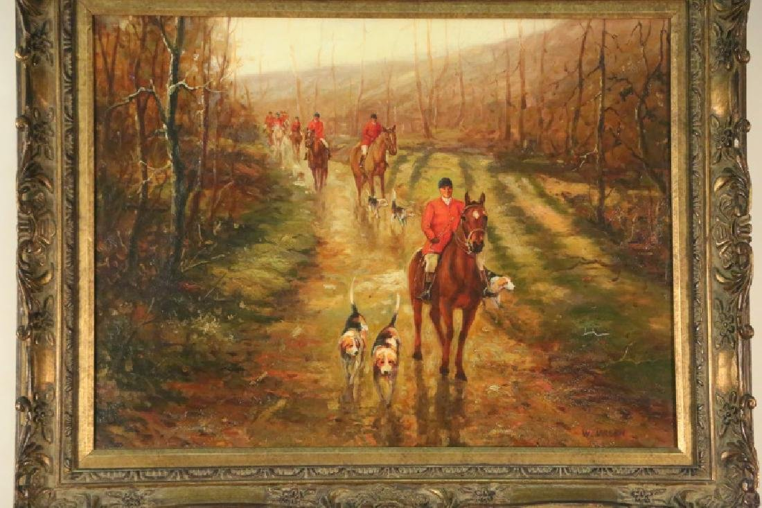 FOX HUNTING SCENE OIL ON CANVAS PAINTING - 2