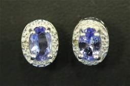 PAIR OF TANZANITE  DIAMOND EARRINGS