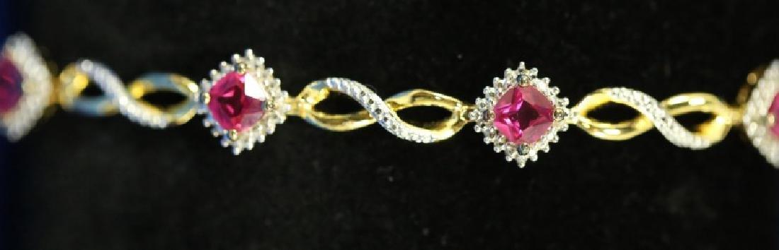 GOLD WASH OVER S.S. RUBY & DIAMOND BRACELET