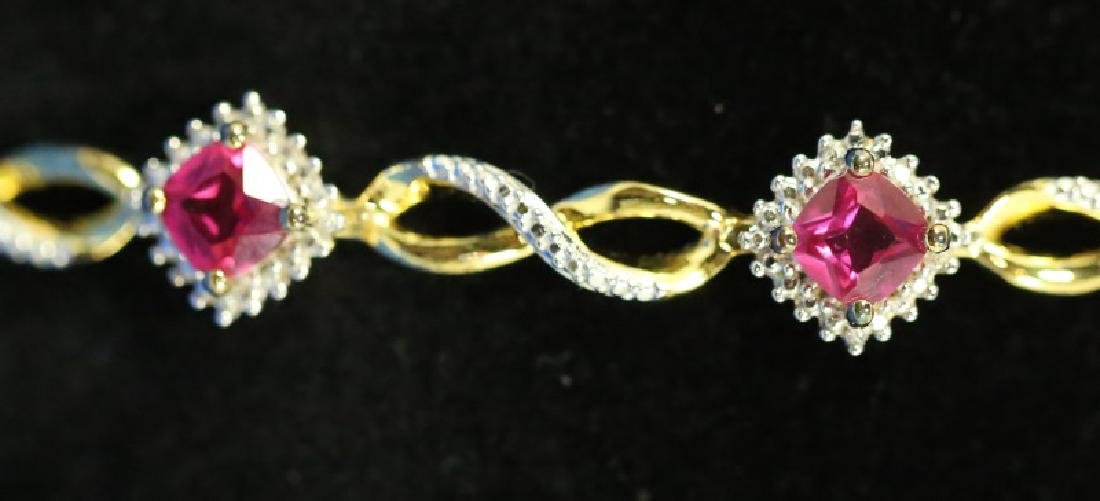 GOLD WASH OVER S.S. RUBY & DIAMOND BRACELET - 2
