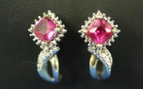 Pair Of Sterling Silver Ruby & Diamond Earrings