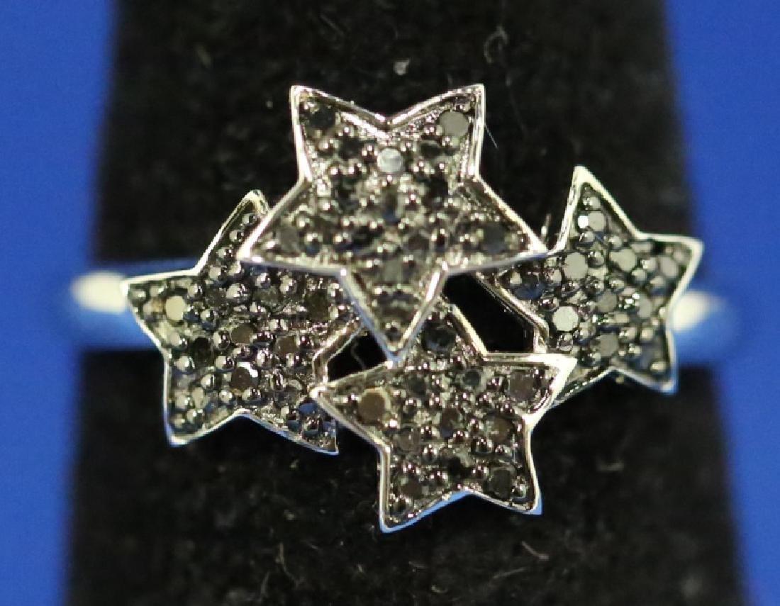 LADIES STAR MOTIF BLACK DIAMOND STERLING RING
