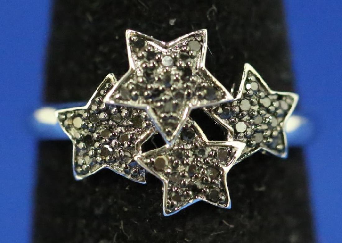 LADIES STAR MOTIF BLACK DIAMOND STERLING RING - 2