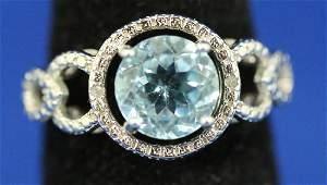 LADIES BLUE TOPAZ & DIAMOND STERLING COCKTAIL RING