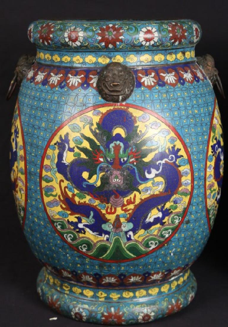 PAIR OF CHINESE CLOISONNE GARDEN STOOLS - 2