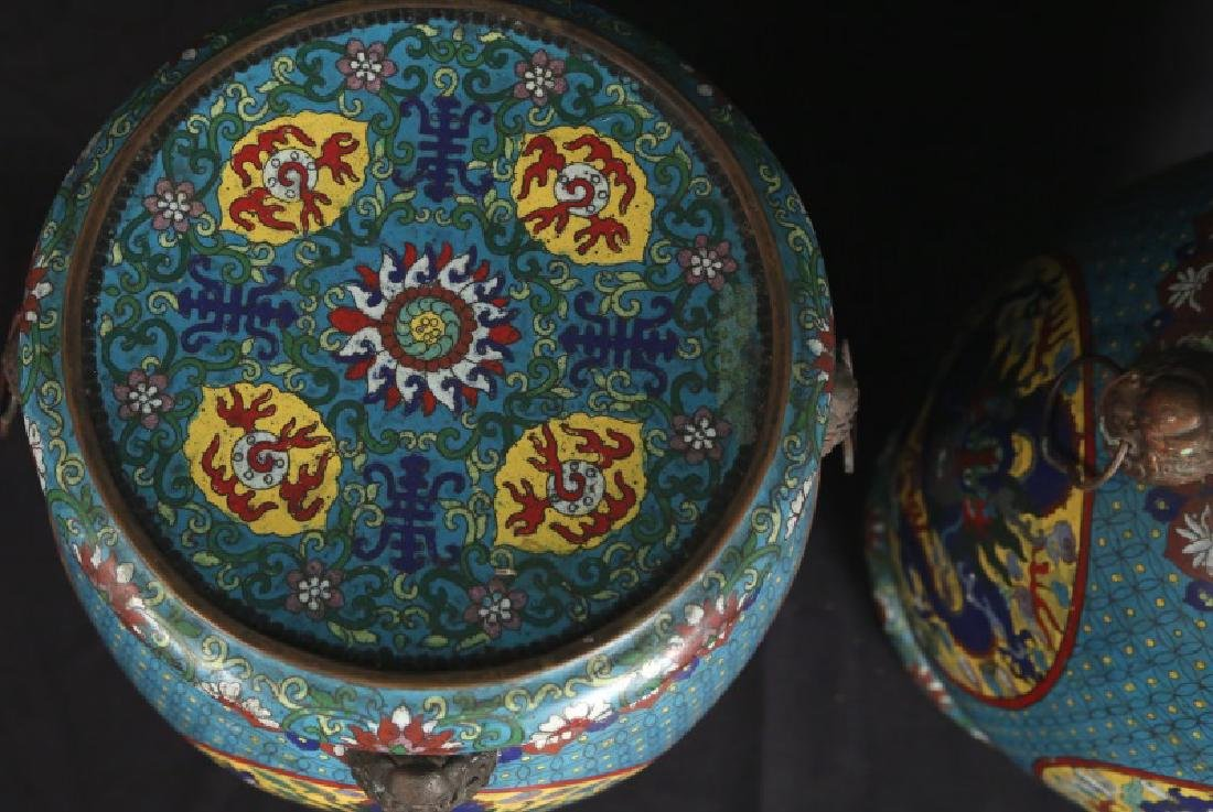 PAIR OF CHINESE CLOISONNE GARDEN STOOLS - 3