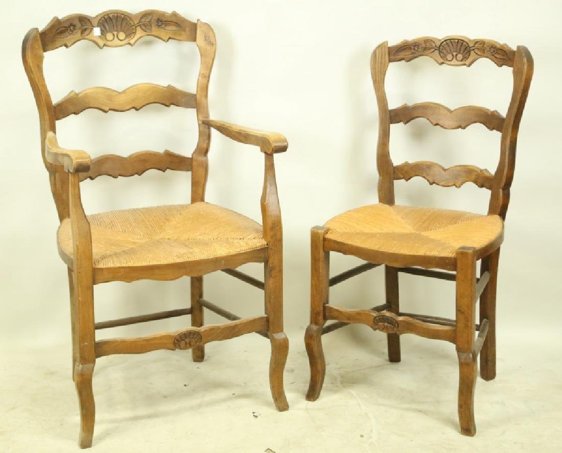 SET OF SIX ANTIQUE COUNTRY FRENCH RUSH SEAT CHAIRS