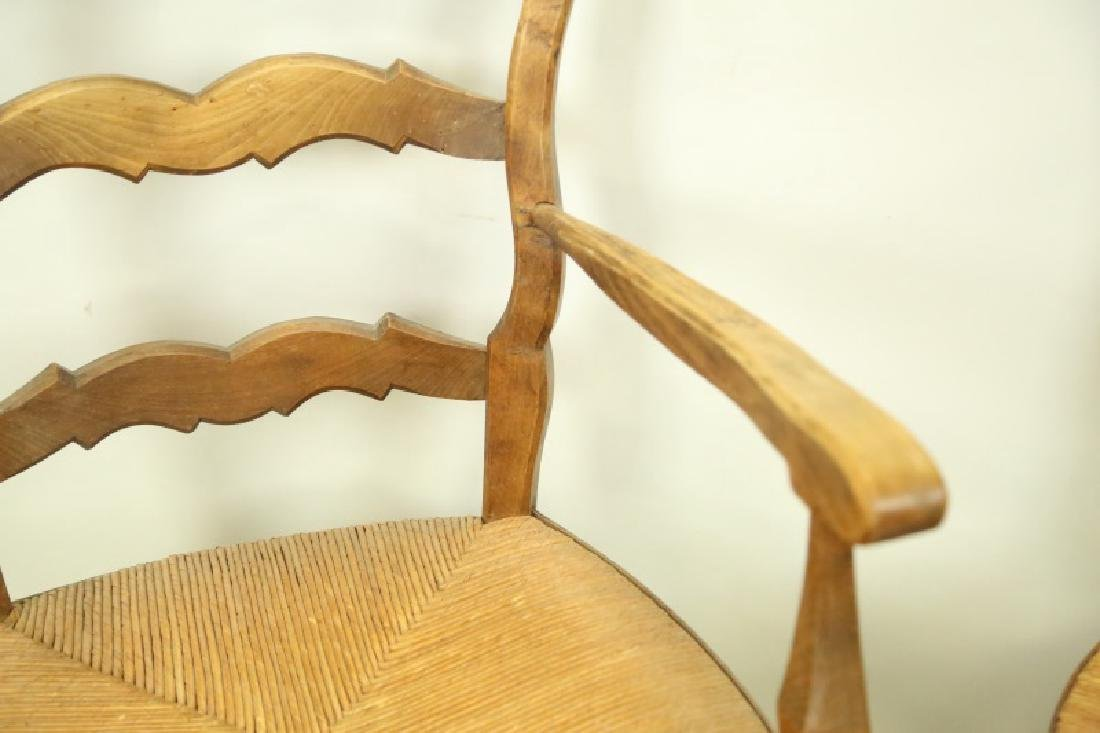 SET OF SIX ANTIQUE COUNTRY FRENCH RUSH SEAT CHAIRS - 3