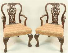 PAIR 19th C MAHOGANY CHIPPENDALE ARMCHAIRS