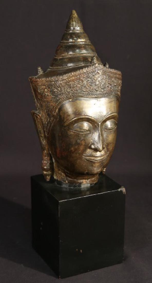 19th CENTURY BRONZE BUDDAH HEAD