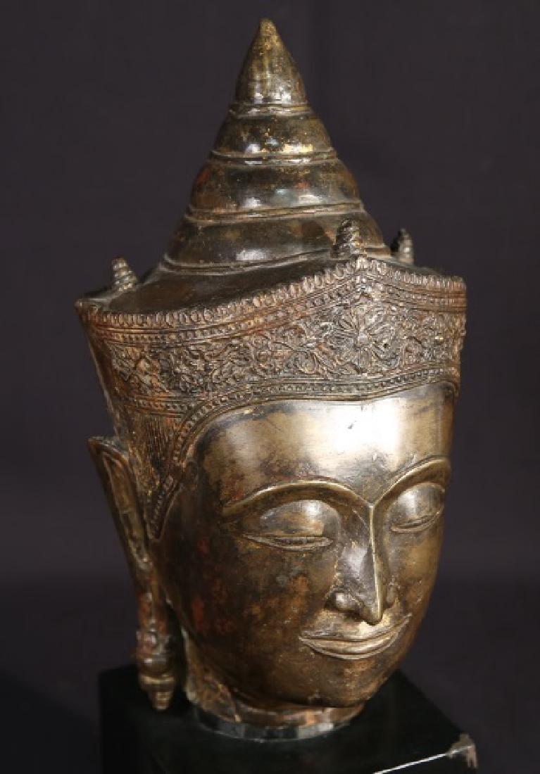 19th CENTURY BRONZE BUDDAH HEAD - 2