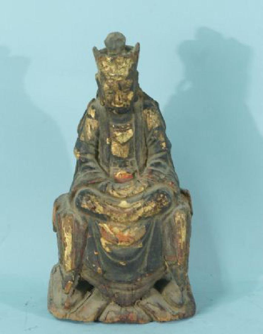 ANTIQUE WOOD CARVED & GILDED BUDDHA