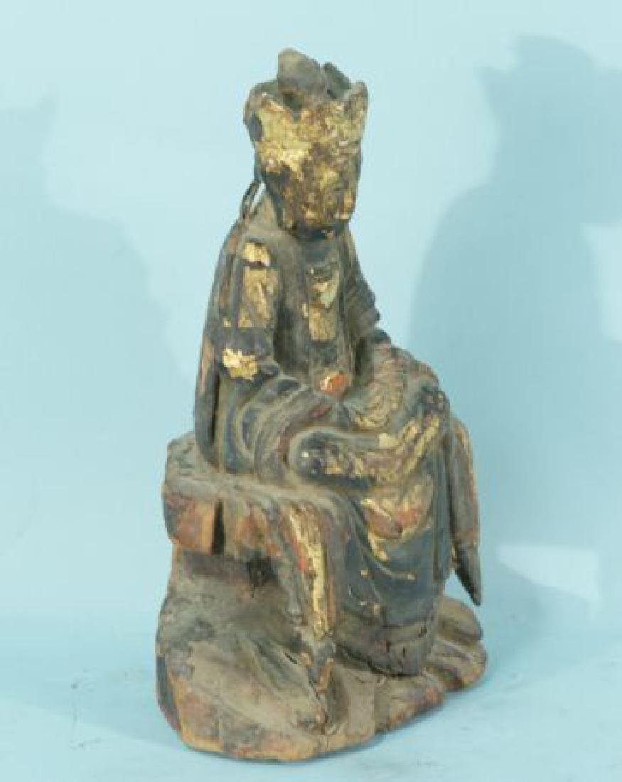 ANTIQUE WOOD CARVED & GILDED BUDDHA - 2