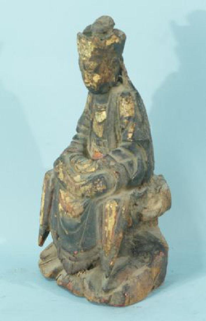 ANTIQUE WOOD CARVED & GILDED BUDDHA - 3