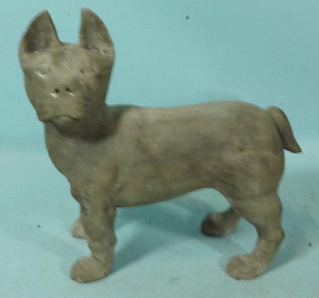 WOOD CARVED STANDING TERRIER